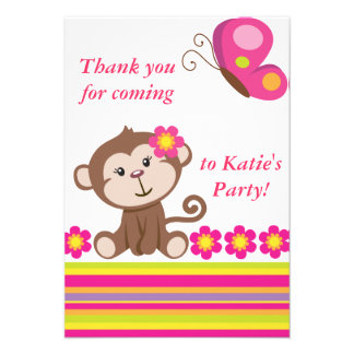 Monkey Girl Pink Thank You Note Custom Invitations