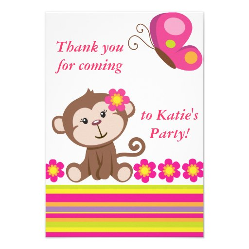 Monkey Girl (Pink) Thank You Note Custom Invitations