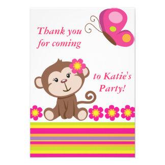Monkey Girl Pink Thank You Note Custom Invitations