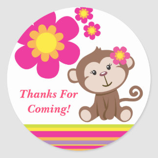 Monkey Girl (Pink) Thank You Sticker