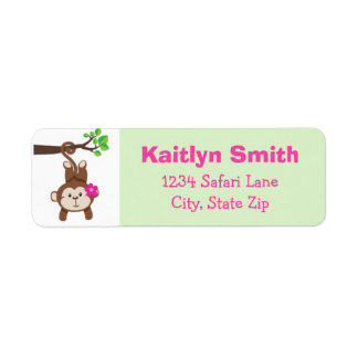 Monkey Girl Return Address Label