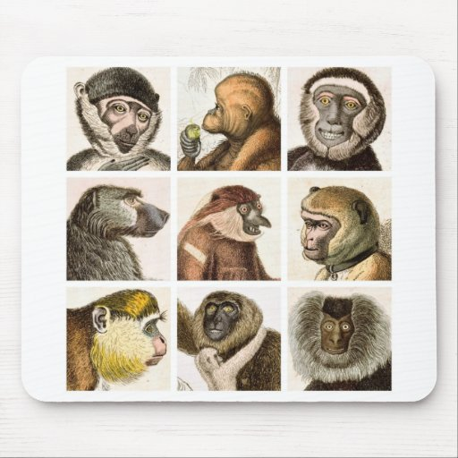 Monkey Head Collage Mouse Pads