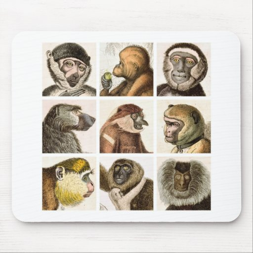 Monkey Head Collage - Mouse Pads