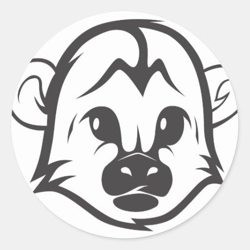 Monkey Head Illustration Sticker