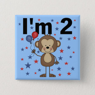 Monkey I'm 2 Tshirts and Gifts 2 Inch Square Button