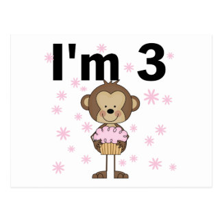 Monkey I'm 3 Birthday Tshirts and Gifts Postcard