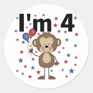 Monkey I'm 4 T-shirts and gifts Round Sticker