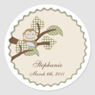 Monkey in Plaid Leaves Sticker