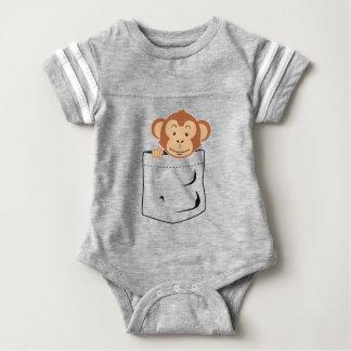 Monkey in pocket baby bodysuit