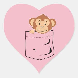 Monkey in pocket heart sticker
