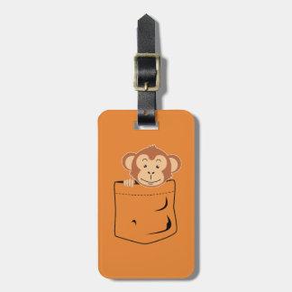 Monkey in pocket luggage tag