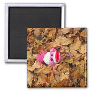Monkey In The Leaves Square Magnet