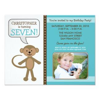 Monkey-ing Around Birthday Party Invite (blue)