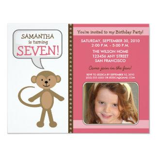 Monkey-ing Around Birthday Party Invite (pink)