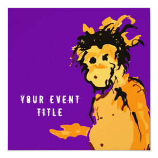 "monkey ink 5.25"" square invitation card"