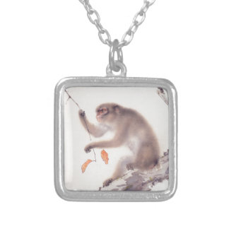 Monkey Japanese Painting - Year of the Monkey Silver Plated Necklace