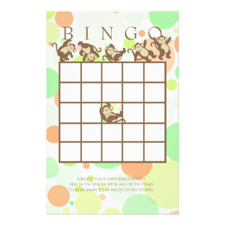Monkey Jungle Baby Shower Bingo Stationery