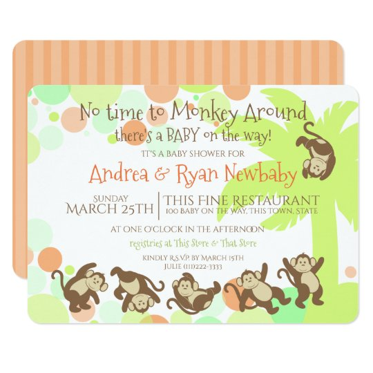 Monkey Jungle Baby Shower Card