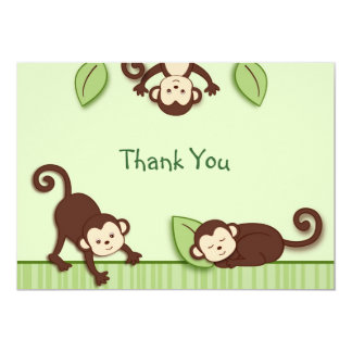Monkey Jungle Flat Thank You Note Cards