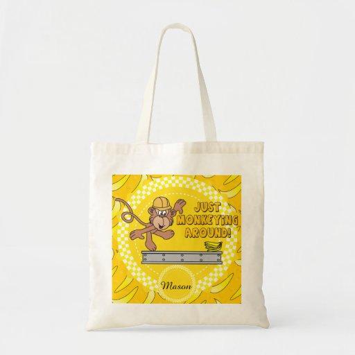 Monkey juste autour le thème de crèche sac en toile