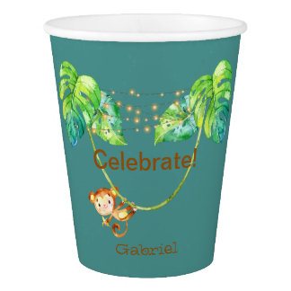 Monkey Kid Jungle Party With Customize Name Paper Cup
