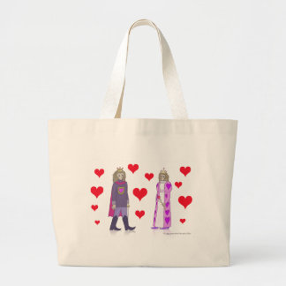 Monkey King and Queen of Hearts Large Tote Bag
