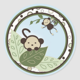 Monkey,Leaves and Circles Stickers