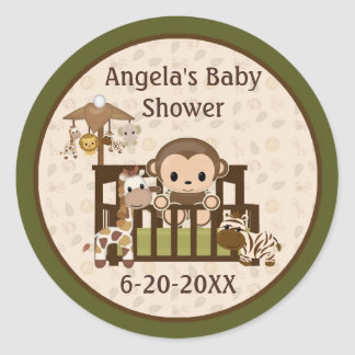 Monkey les étiquettes de baby shower/joints vides autocollants ronds