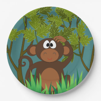 Monkey Lost in the Jungle 9 Inch Paper Plate