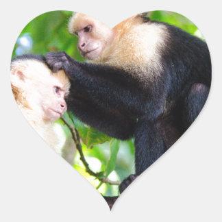 Monkey Love Heart Sticker