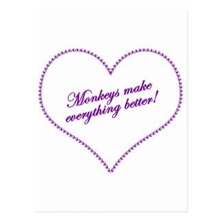 Monkey Love - Monkeys Make Everything Better Postcard