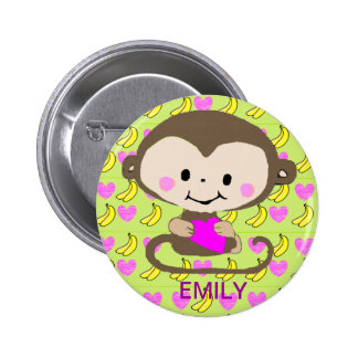 Monkey Love - Personalized 2 Inch Round Button