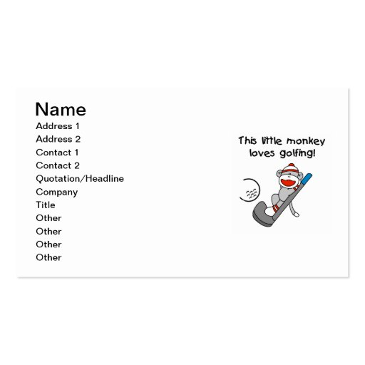 Monkey Loves Golfing T-shirts and Gifts Business Card Templates