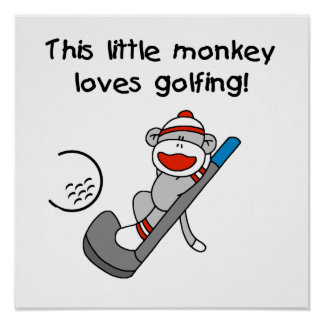 Monkey Loves Golfing T-shirts and Gifts Poster