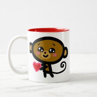 Monkey loves you! Two-Tone mug