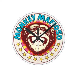 Monkey Mafioso Round Clock