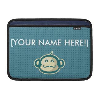 Monkey Mustache Blue Dots MacBook Sleeve