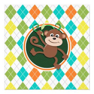 Monkey on Colorful Argyle Pattern Personalized Invites