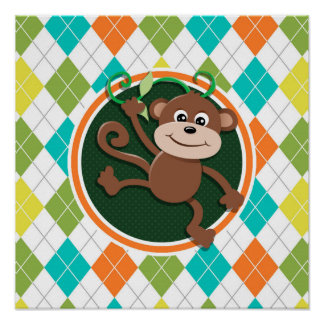 Monkey on Colorful Argyle Pattern Poster
