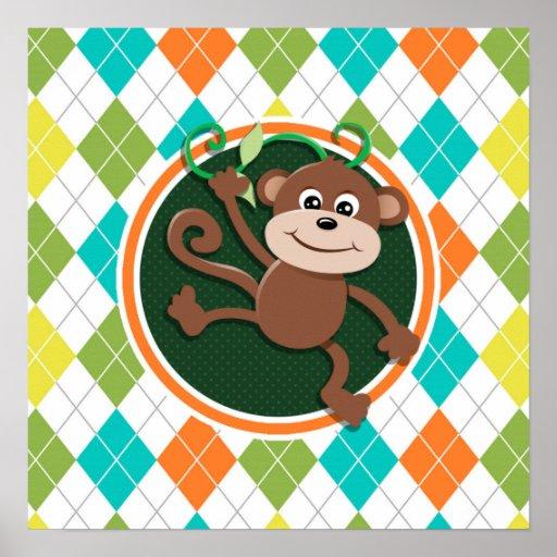 Monkey on Colorful Argyle Pattern Poster