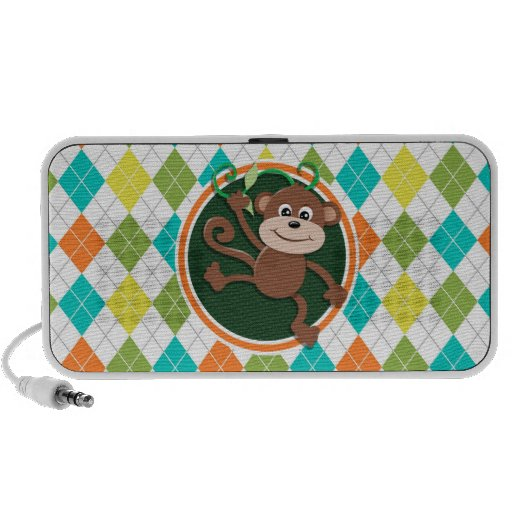 Monkey on Colorful Argyle Pattern Travelling Speaker