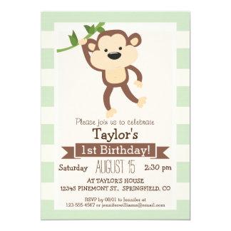 Monkey on Pastel Green Stripes 5x7 Paper Invitation Card