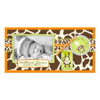 Monkey & Pacifier Safari Print Birth Announcement Photo Card Template