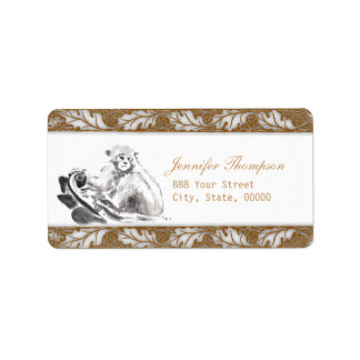 Monkey Painting oak leaves Address Labels