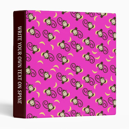 Monkey Pattern Custom Avery Binder Hot Pink/Brown