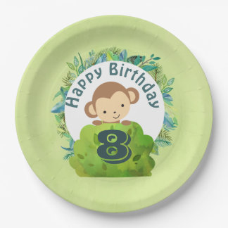 Monkey Peeking Out from Behind a Bush Birthday 9 Inch Paper Plate
