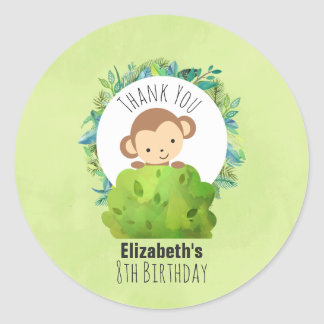 Monkey Peeking Out from Behind a Bush Birthday Classic Round Sticker