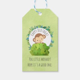Monkey Peeking Out from Behind a Bush Birthday Pack Of Gift Tags