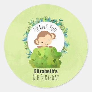 Monkey Peeking Out from Behind a Bush Birthday Round Sticker