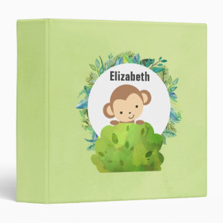Monkey Peeking Out from Behind a Bush Personalized Binder